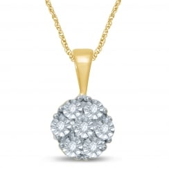 9ct Illusion Set 0.06 Diamond Cluster Pendant