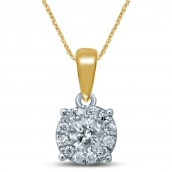 9ct Illusion 0.25 Carat Diamond Solitaire Pendant