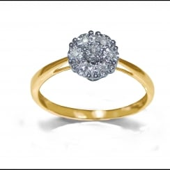 9ct Illusion Set 0.06 Carat Diamond Cluster Ring