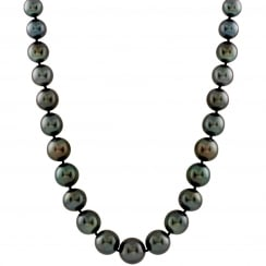 14ct white gold 8-10mm black tahitian pearls necklace