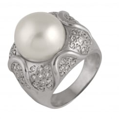 14ct white gold 11-12mm white south sea pearls 0.76ct south sea diamond ring
