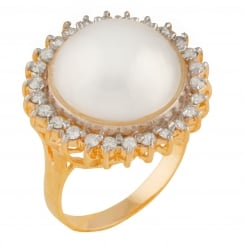 14ct yellow gold 13-14mm white mabe halo 0.52ct diamond ring