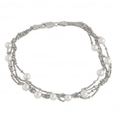 sterling silver rhodium plated 4.5-5mm white freshwater pearlbracelet