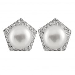 sterling silver rhodium plated 8-8.5mm white freshwater pearl earrings