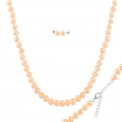 sterling silver rhodium plated 7-8mm pink freshwater pearl set