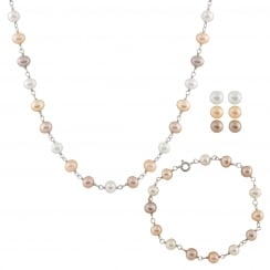 sterling silver rhodium plated 7-8mm multicolor freshwater pearl set