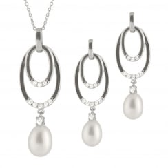 sterling silver rhodium plated 7.5-8mm white freshwater pearl set