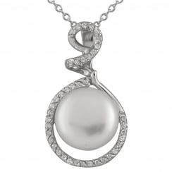 sterling silver rhodium plated 11-11.5mm white freshwater pearl pendant