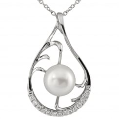 sterling silver rhodium plated 9-9.5mm white freshwater pearl pendant