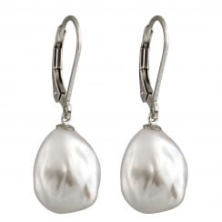 sterling silver rhodium plated 11-12mm white freshwater pearl earrings