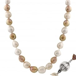 14ct white gold 10-13mm multicolor freshwater pearl necklace