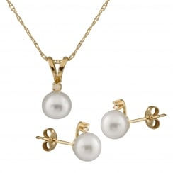 10ct yellow gold 5-6mm white freshwater pearl and 0.03ct diamond set