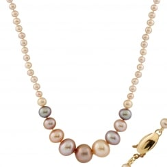14ct yellow gold 3-12mm multicolor freshwater pearl necklace