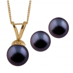 14ct yellow gold 5-5.5mm black akoya pearl pendant