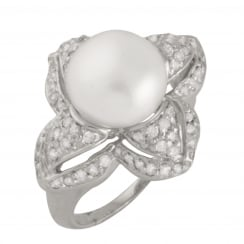 sterling silver rhodium plated 10-10.5mm white freshwater pearl and cz ring