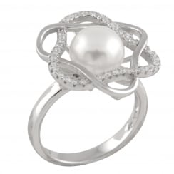 sterling silver rhodium plated 8-8.5mm white freshwater pearl star shaped ring