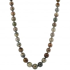 14ct white gold 9-10.5mm black tahitian pearl necklace