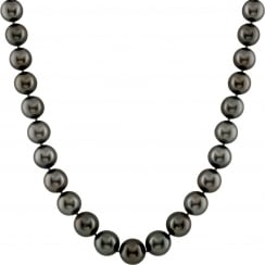 14ct white gold 10.1-12.4mm black aaa quality tahitian pearl and 0.25ct diamond encrusted necklace