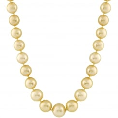 14ct yellow gold 9-11mm golden south sea pearl necklace