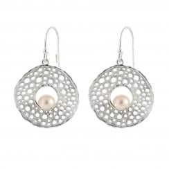 sterling silver 5-6mm white feshwater pearl dangling medallion earrings
