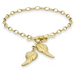 9ct Yellow Gold Angel Wings T-Bar Bracelet of 18cm/7""