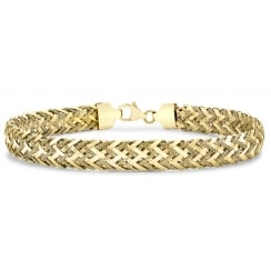 9ct Yellow Gold Textured Woven Bracelet of 19cm/7.5""