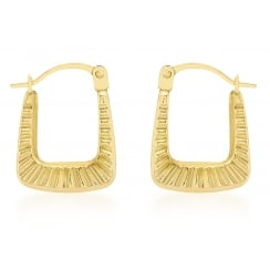 9ct Yellow Gold Patterned Creole Earrings