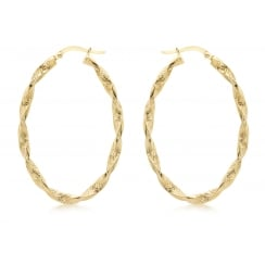 9 ct Yellow Gold Textured Oval Twist Creole Earrings