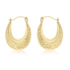 9 ct Yellow Gold Patterned Creole Earrings