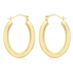 9ct Yellow Gold Oval Creole Earrings