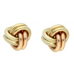 9ct 3 colour gold knot studs
