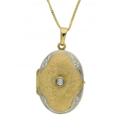 9ct two tone gold 0.05ct diamond locket and 46cm curb chain