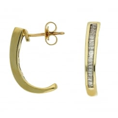 9ct yellow gold 0.50ct diamond J hoop earrings