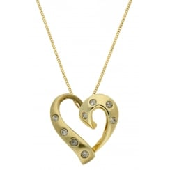 9ct yellow gold 0.16ct diamond slider pendant and 46cm curb chain