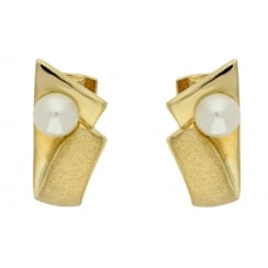 9ct yellow gold cultured pearl creoles