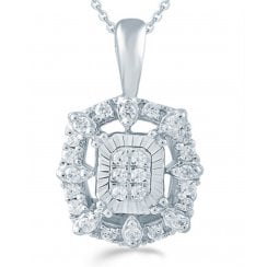 "9ct 0.16ct Diamond illusion set pendant & 18"" chain"