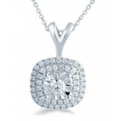 "9ct 0.25ct Diamond illusion set pendant & 18"" chain"