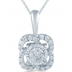 "9ct 0.12ct Diamond illusion set pendant & 18"" chain"