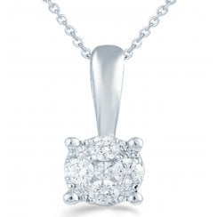 9ct 0.10ct Diamond illusion set Solitaire pendant & chain