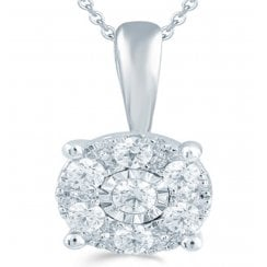 9ct 0.25ct Diamond illusion set Solitaire pendant & chain
