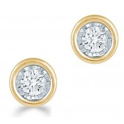 Silver 0.25ct Diamond illusion set Solitaire Studs