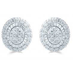 Silver 0.33ct Diamond illusion set studs