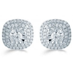 Silver 0.50ct Diamond illusion set studs