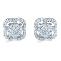 Silver 0.25ct Diamond illusion set studs