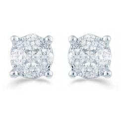 Silver 0.16ct Diamond illusion set studs