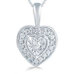 "Silver 0.12ct Diamond illusion set pendant & 18"" chain"