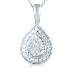 "Silver 0.10ct Diamond illusion set pendant & 18"" chain"