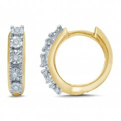 9ct yg 0.06ct diamond earrings