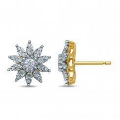 9ct yg 0.37ct diamond earrings