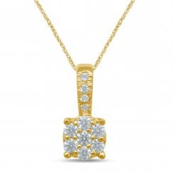 "9ct yg 0.16ct diamond pendant & 18"" chain"